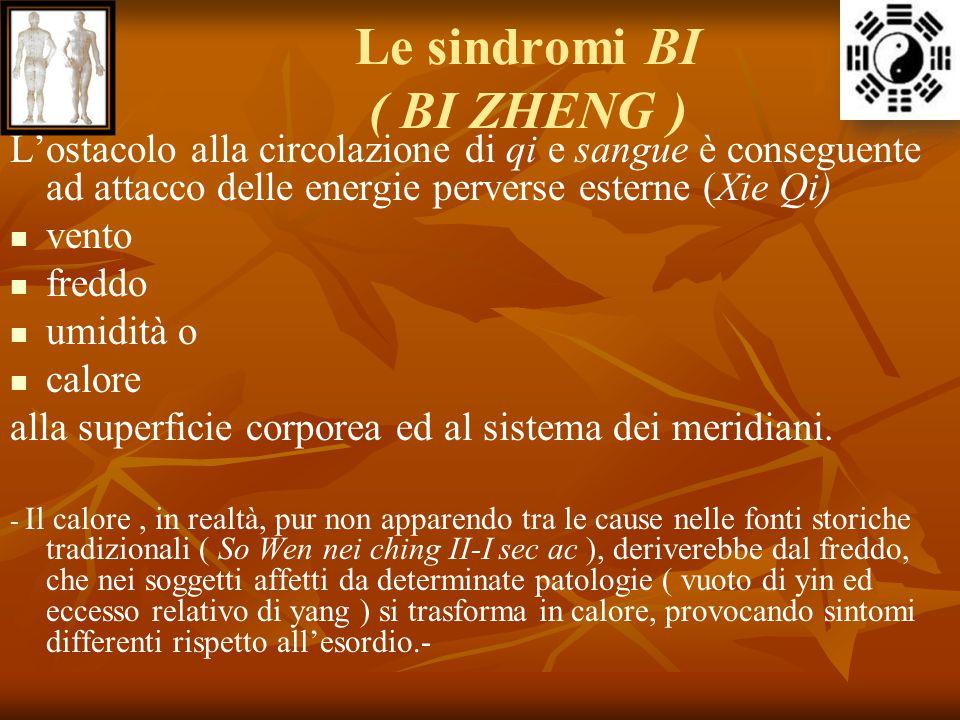 Le sindromi BI ( BI ZHENG ) L'ostacolo alla circolazione di qi e sangue è conseguente ad attacco delle energie perverse esterne (Xie Qi) vento freddo