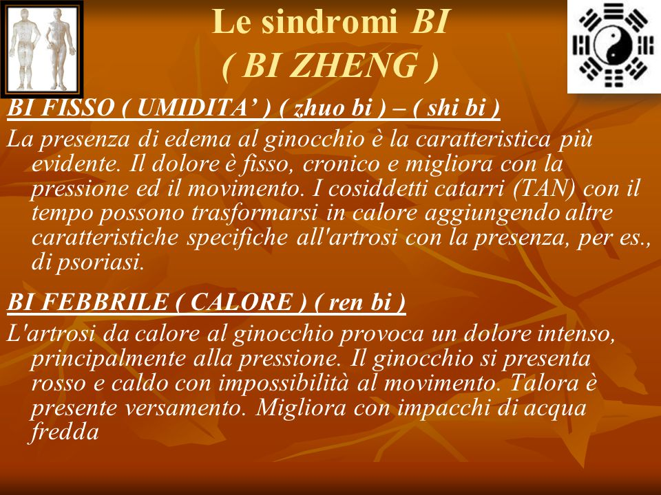 Le sindromi BI ( BI ZHENG ) BI FISSO ( UMIDITA' ) ( zhuo bi ) – ( shi bi ) La presenza di edema al ginocchio è la caratteristica più evidente. Il dolo