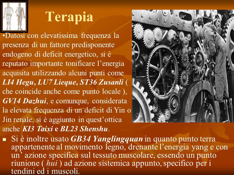 Terapia Si è inoltre usato GB34 Yanglingquan in quanto punto terra appartenente al movimento legno, drenante l'energia yang e con un' azione specifica