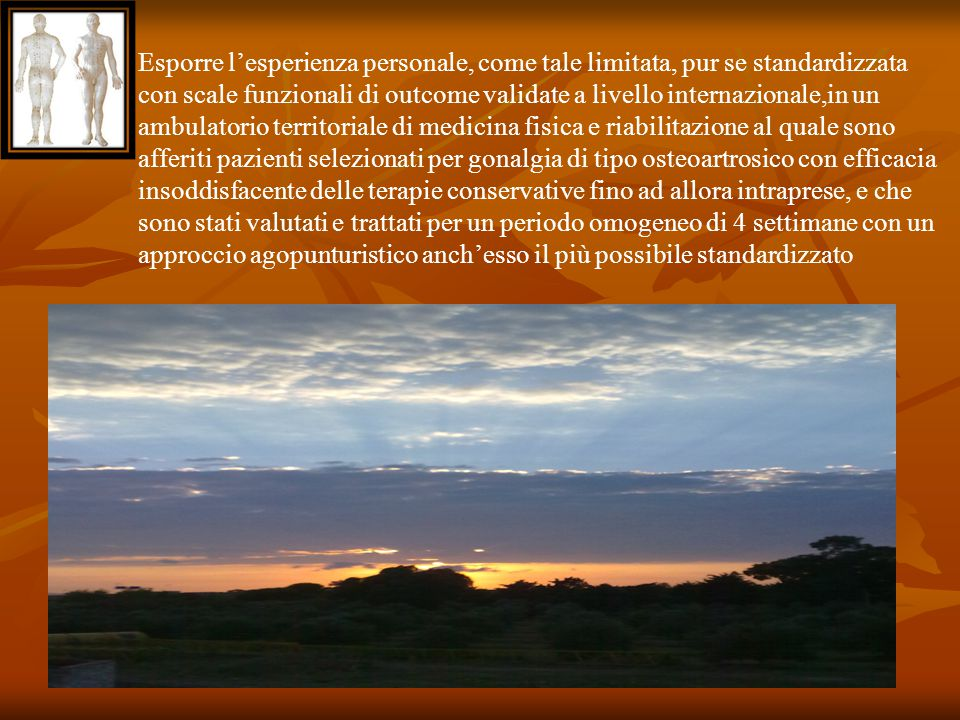 Esporre l'esperienza personale, come tale limitata, pur se standardizzata con scale funzionali di outcome validate a livello internazionale,in un ambu