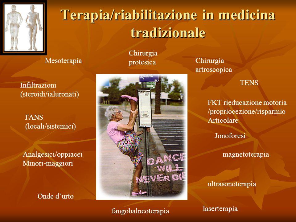 Terapia/riabilitazione in medicina tradizionale Mesoterapia Infiltrazioni (steroidi/ialuronati) TENS Jonoforesi magnetoterapia FANS (locali/sistemici)