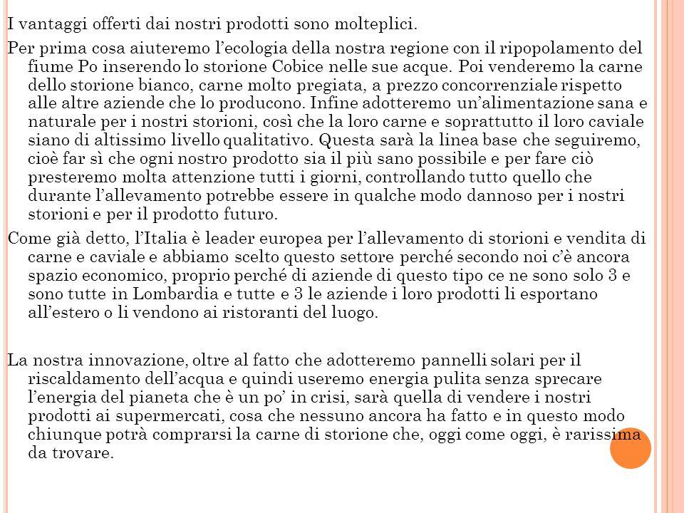 Oltre allo storione bianco abbiamo deciso di allevare anche, in quantità minore, lo storione cobice ( naccarii ) per effettuare prima possibile la ven