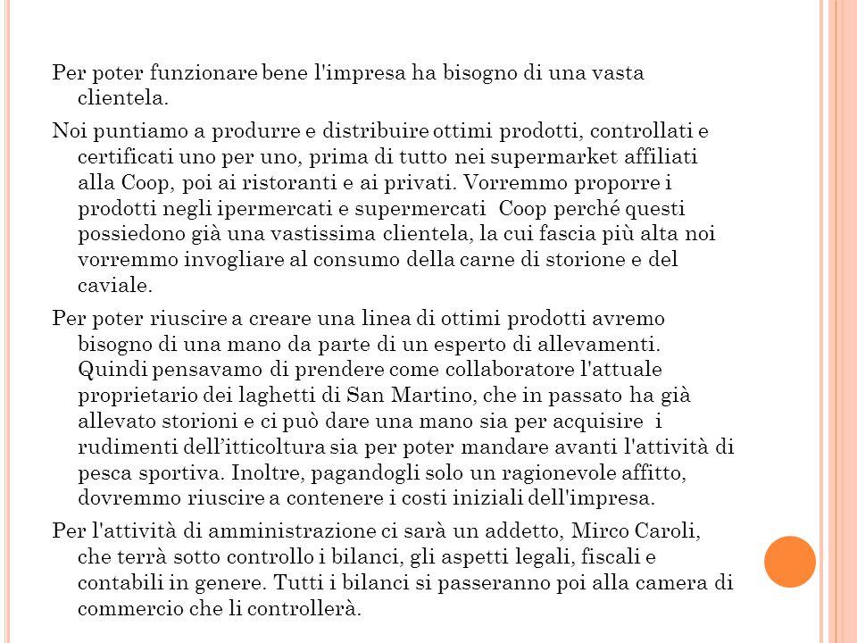 4.3 L'Amministrazione e la gestione generale dell'impresa La nostra società sarà composta dai componenti del gruppo. I soci saranno: Biadaioli Mattia:
