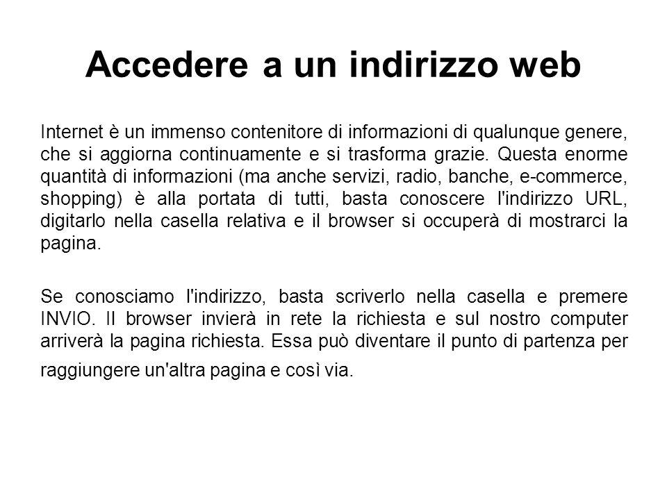 Accedere a un indirizzo web Internet è un immenso contenitore di informazioni di qualunque genere, che si aggiorna continuamente e si trasforma grazie