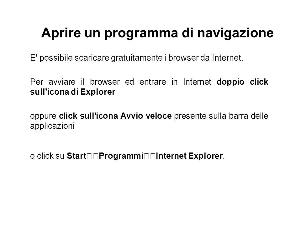 Aprire un programma di navigazione E' possibile scaricare gratuitamente i browser da Internet. Per avviare il browser ed entrare in Internet doppio cl