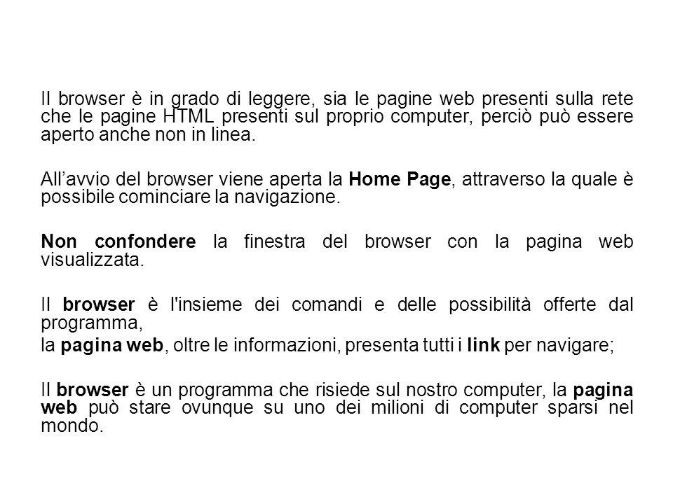 Il browser è in grado di leggere, sia le pagine web presenti sulla rete che le pagine HTML presenti sul proprio computer, perciò può essere aperto anc