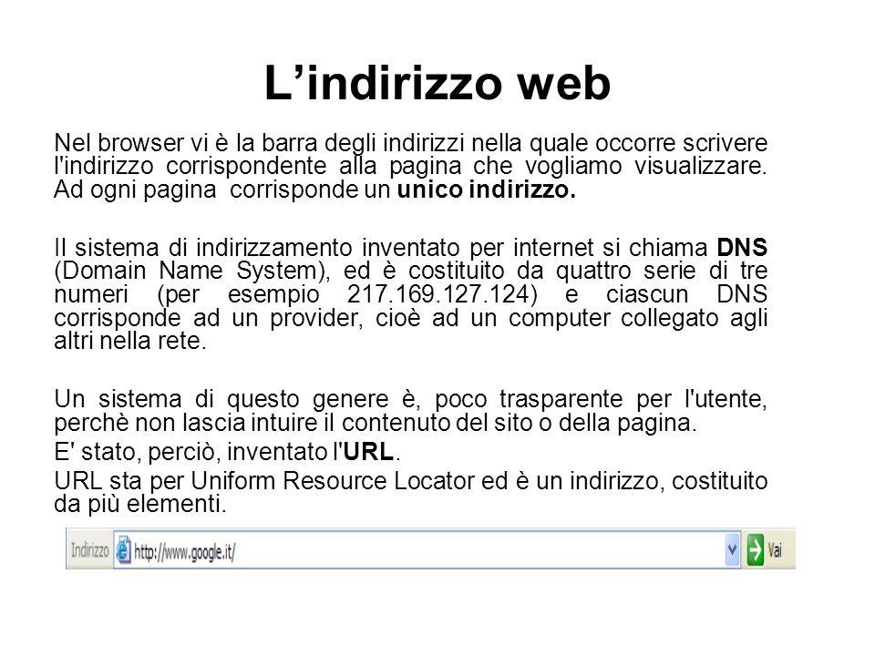 L'indirizzo web Nel browser vi è la barra degli indirizzi nella quale occorre scrivere l'indirizzo corrispondente alla pagina che vogliamo visualizzar