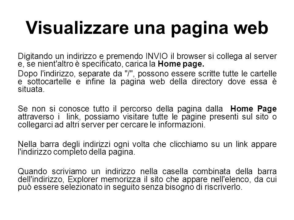 Visualizzare una pagina web Digitando un indirizzo e premendo INVIO il browser si collega al server e, se nient'altro è specificato, carica la Home pa