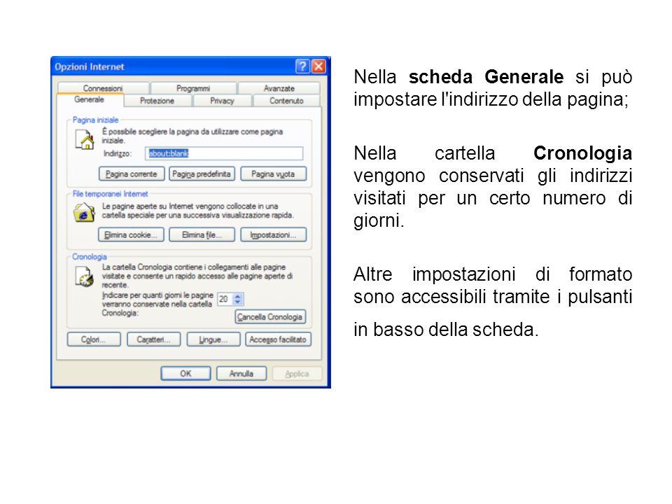 Nella scheda Generale si può impostare l'indirizzo della pagina; Nella cartella Cronologia vengono conservati gli indirizzi visitati per un certo nume
