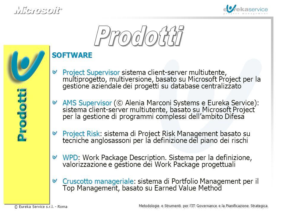 © Eureka Service s.r.l. - Roma Metodologie e Strumenti per l'IT Governance e la Pianificazione Strategica SOFTWARE Project Supervisor Project Supervis