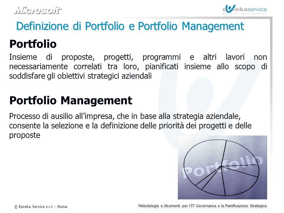 © Eureka Service s.r.l. - Roma Metodologie e Strumenti per l'IT Governance e la Pianificazione Strategica Portfolio Insieme di proposte, progetti, pro