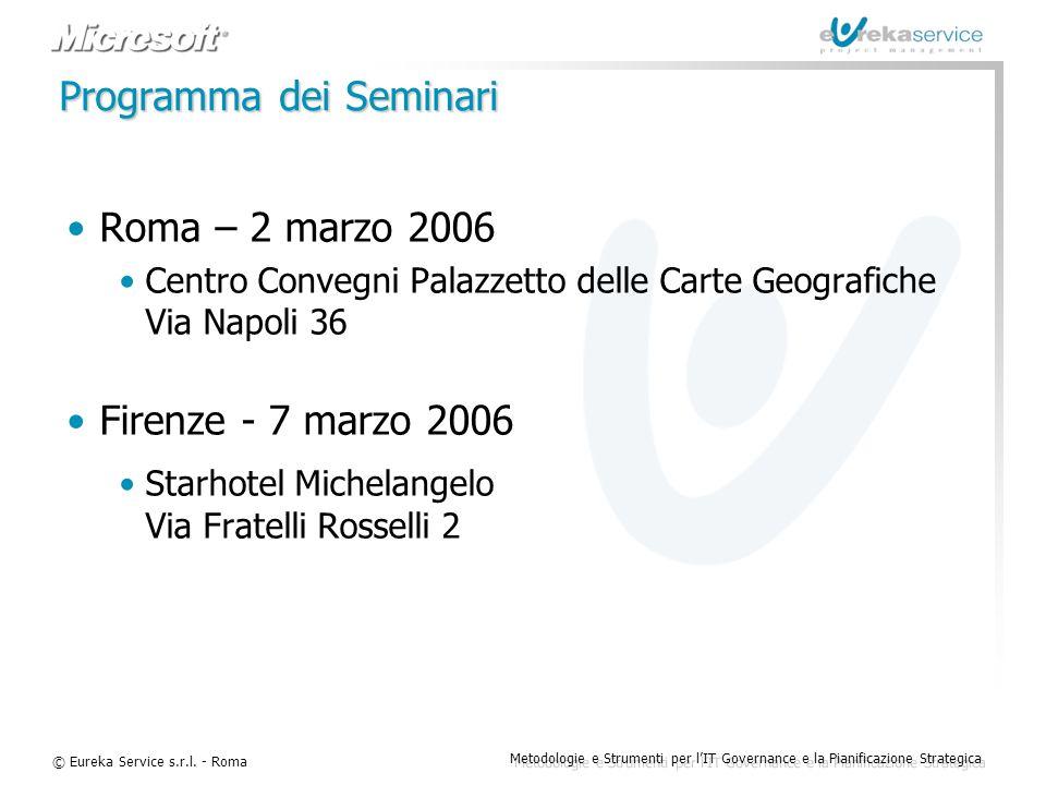 © Eureka Service s.r.l. - Roma Metodologie e Strumenti per l'IT Governance e la Pianificazione Strategica Programma dei Seminari Roma – 2 marzo 2006 C