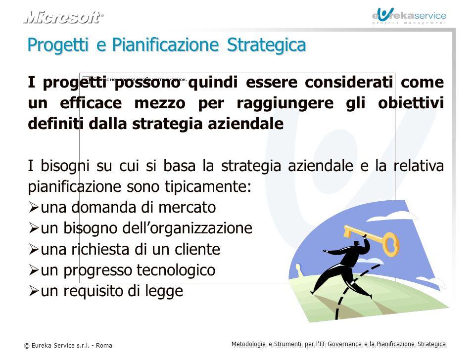 © Eureka Service s.r.l. - Roma Metodologie e Strumenti per l'IT Governance e la Pianificazione Strategica Progetti e Pianificazione Strategica I proge