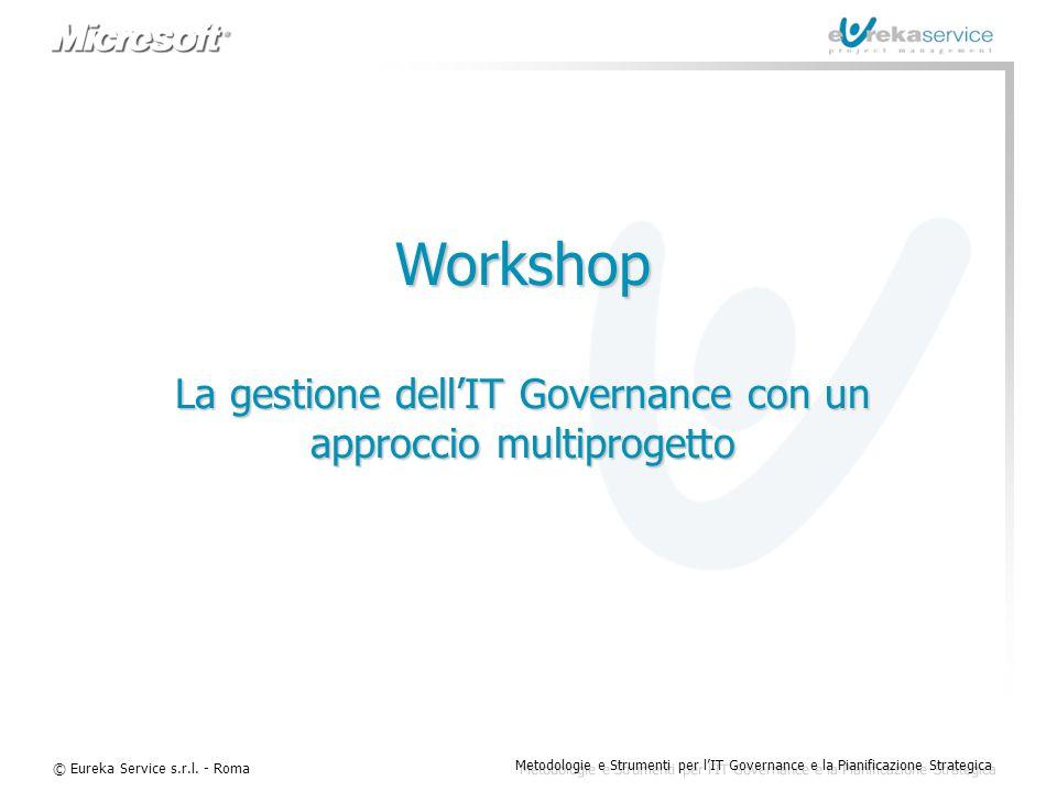© Eureka Service s.r.l. - Roma Metodologie e Strumenti per l'IT Governance e la Pianificazione Strategica Workshop La gestione dell'IT Governance con
