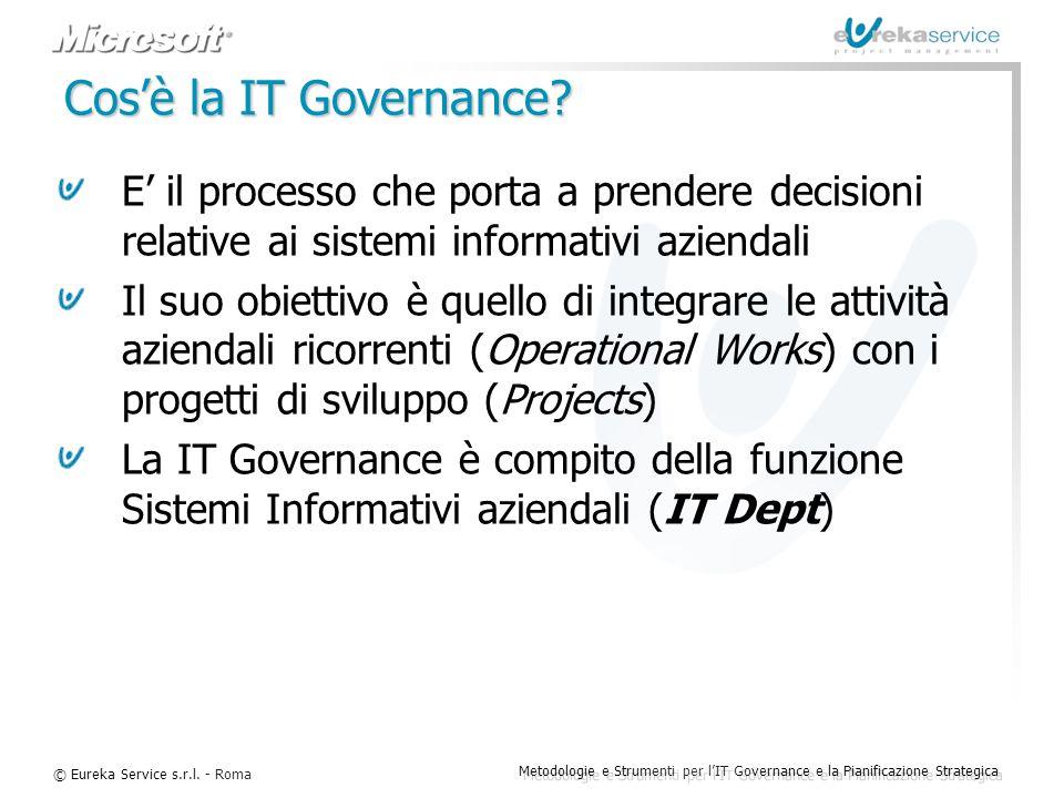 © Eureka Service s.r.l. - Roma Metodologie e Strumenti per l'IT Governance e la Pianificazione Strategica Cos'è la IT Governance? E' il processo che p