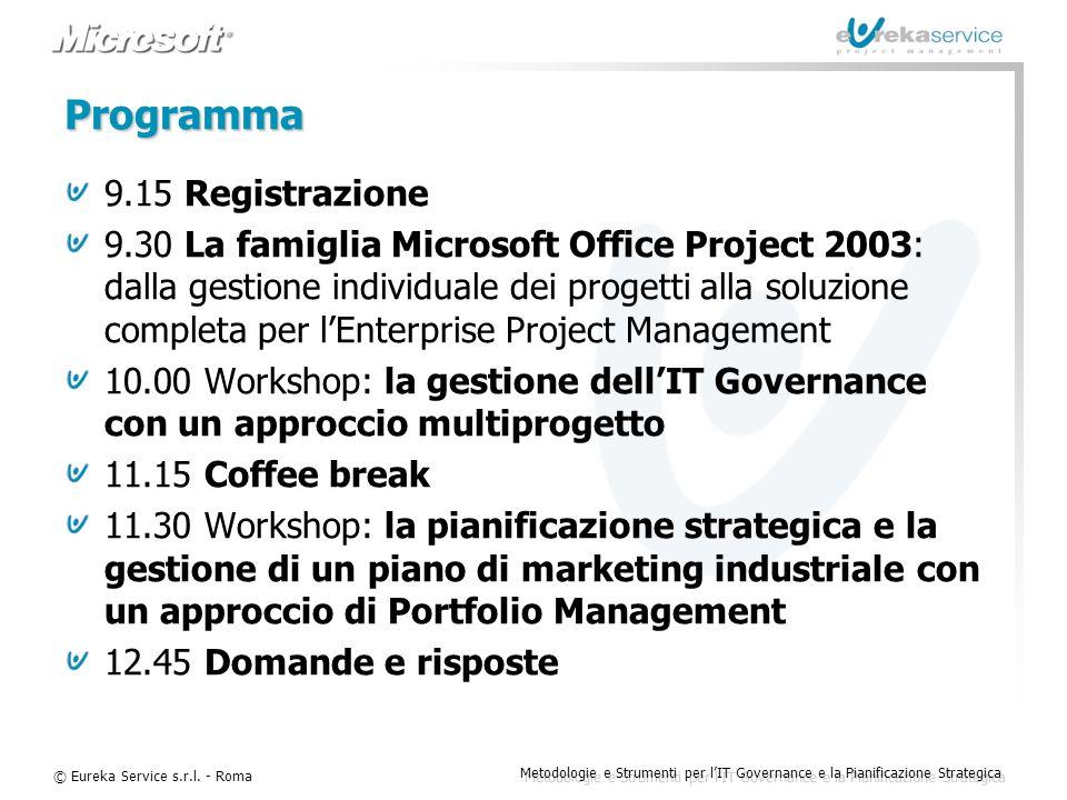© Eureka Service s.r.l. - Roma Metodologie e Strumenti per l'IT Governance e la Pianificazione Strategica Programma 9.15 Registrazione 9.30 La famigli