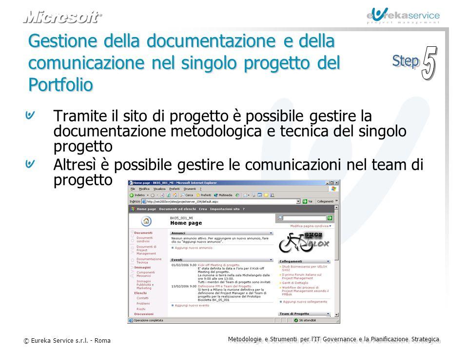 © Eureka Service s.r.l. - Roma Metodologie e Strumenti per l'IT Governance e la Pianificazione Strategica Gestione della documentazione e della comuni