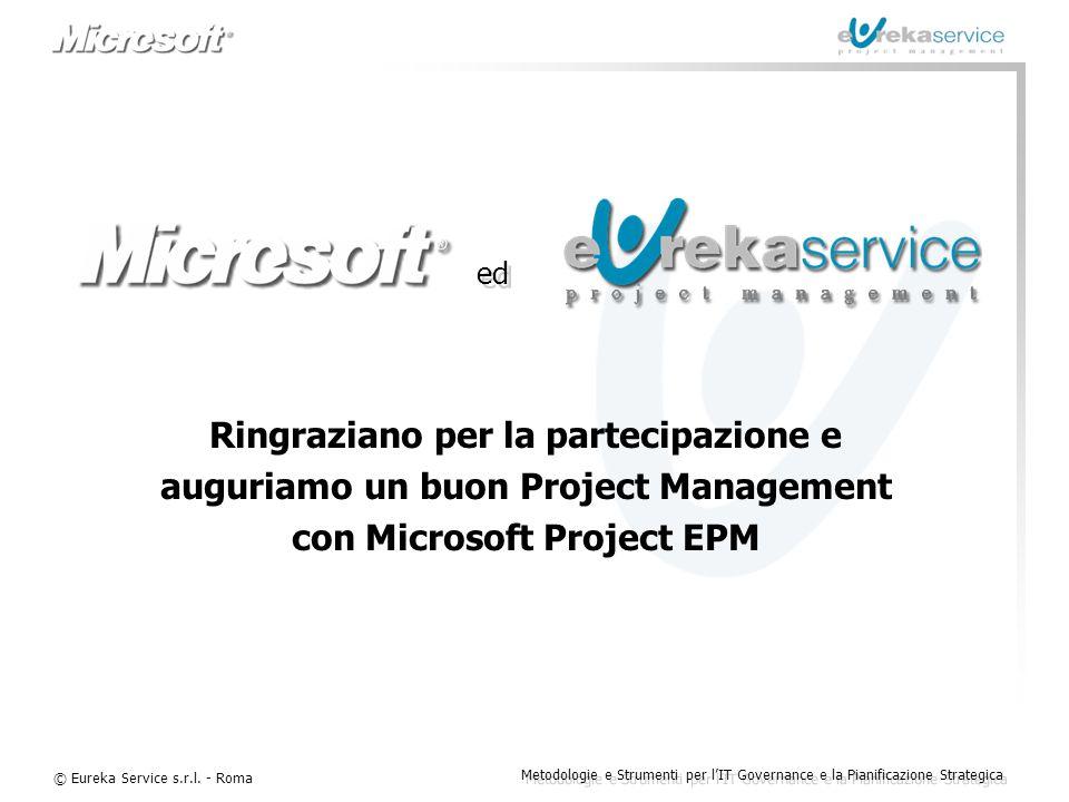 © Eureka Service s.r.l. - Roma Metodologie e Strumenti per l'IT Governance e la Pianificazione Strategica Ringraziano per la partecipazione e auguriam