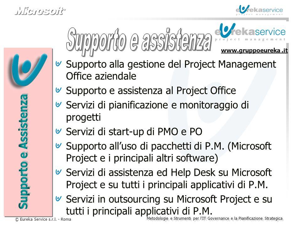 © Eureka Service s.r.l. - Roma Metodologie e Strumenti per l'IT Governance e la Pianificazione Strategica Supporto alla gestione del Project Managemen