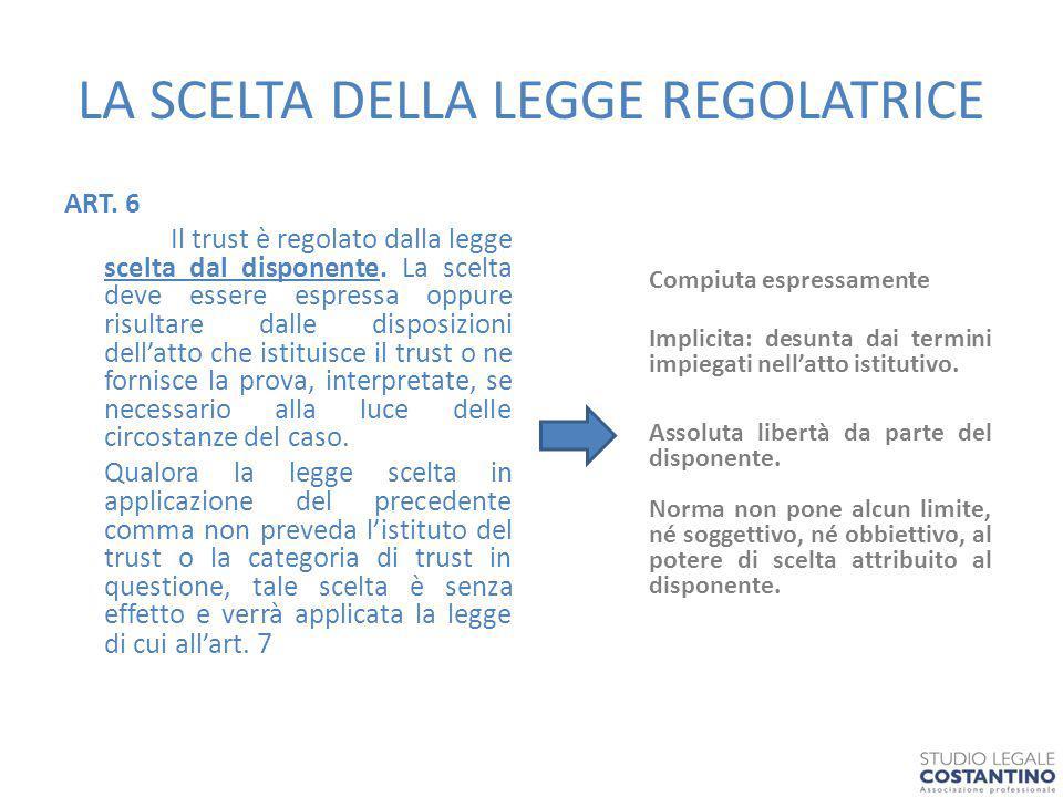 LA SCELTA DELLA LEGGE REGOLATRICE ART.6 Il trust è regolato dalla legge scelta dal disponente.