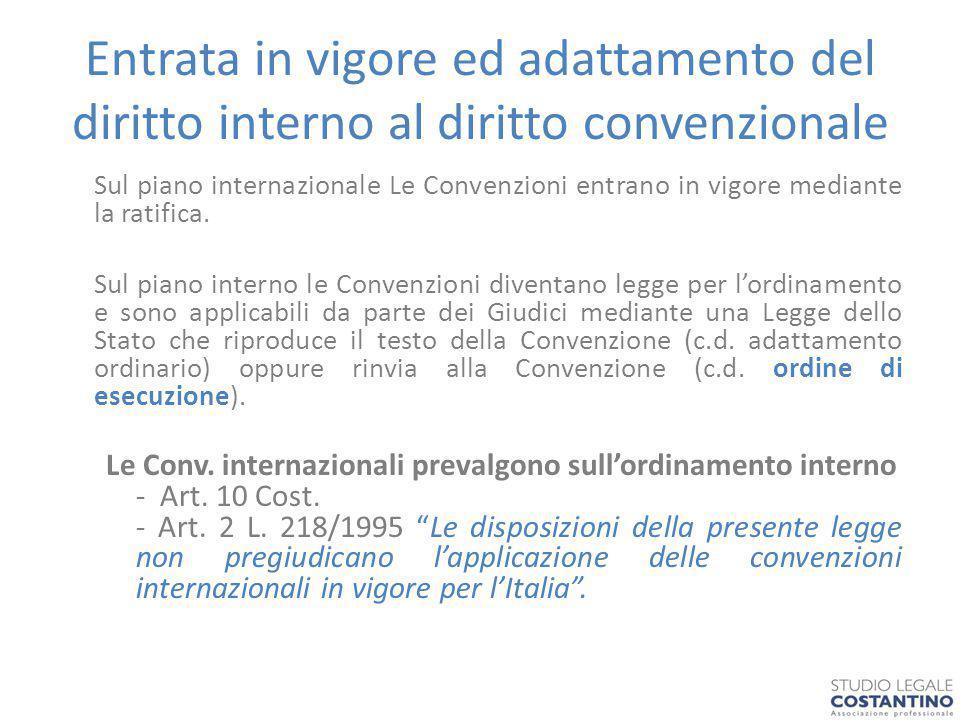 Entrata in vigore ed adattamento del diritto interno al diritto convenzionale Sul piano internazionale Le Convenzioni entrano in vigore mediante la ratifica.