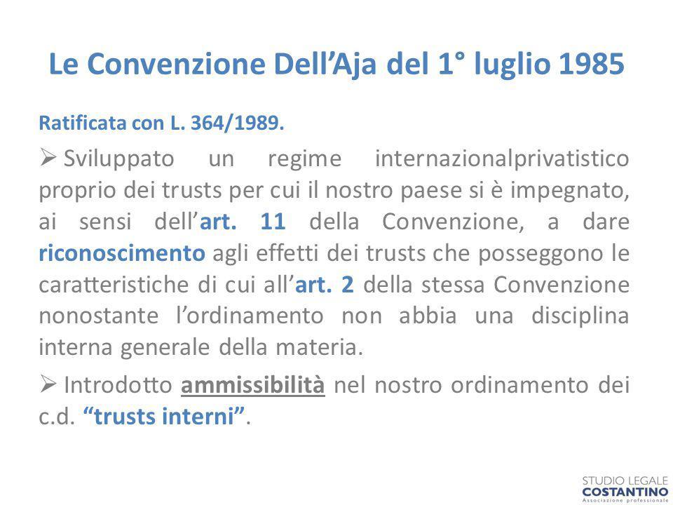 Le Convenzione Dell'Aja del 1° luglio 1985 Ratificata con L.