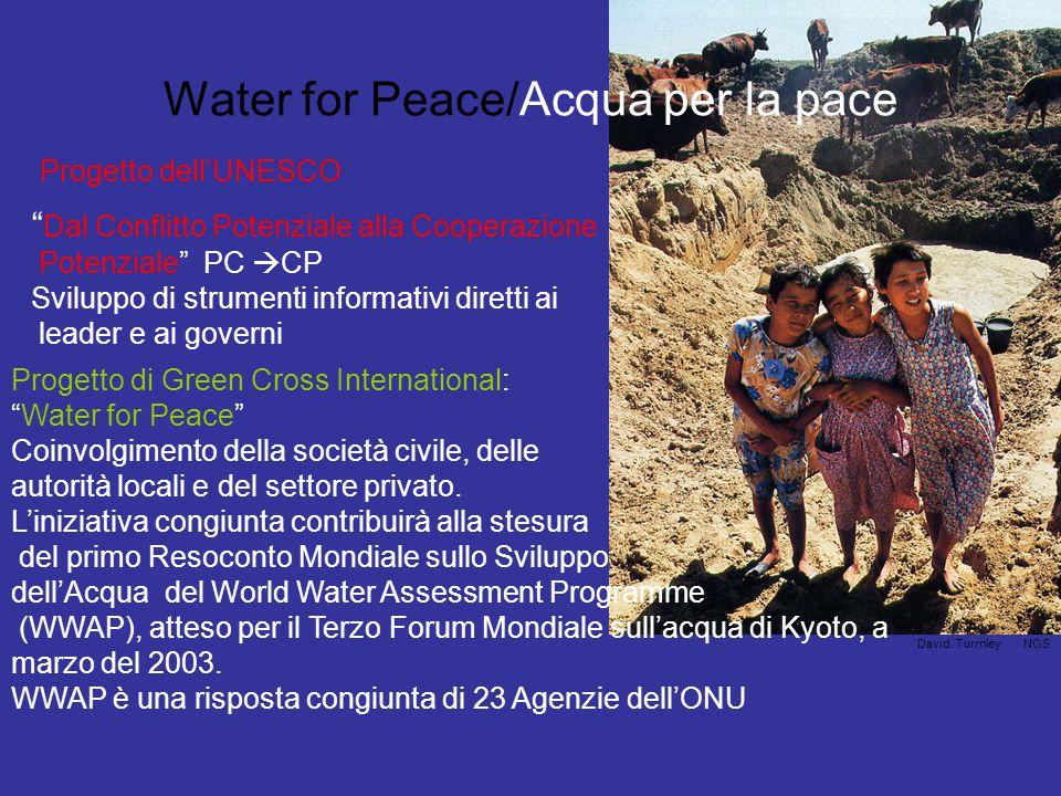Water for Peace/Acqua per la pace Dal Conflitto Potenziale alla Cooperazione Potenziale PC  CP Sviluppo di strumenti informativi diretti ai leader e ai governi Progetto dell'UNESCO Progetto di Green Cross International: Water for Peace Coinvolgimento della società civile, delle autorità locali e del settore privato.