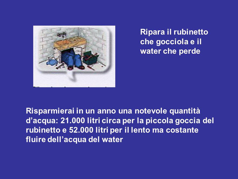 Ripara il rubinetto che gocciola e il water che perde Risparmierai in un anno una notevole quantità d'acqua: 21.000 litri circa per la piccola goccia del rubinetto e 52.000 litri per il lento ma costante fluire dell'acqua del water