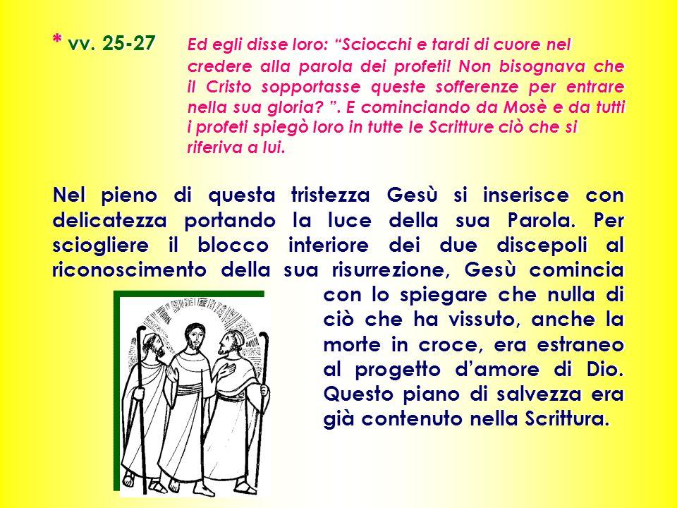 * vv. 25-27 Ed egli disse loro: Sciocchi e tardi di cuore nel credere alla parola dei profeti.