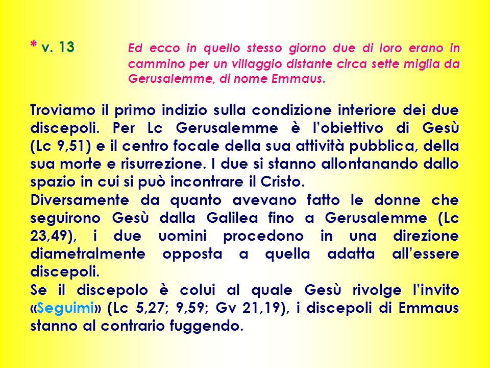 * v. 13 Ed ecco in quello stesso giorno due di loro erano in cammino per un villaggio distante circa sette miglia da Gerusalemme, di nome Emmaus. Trov