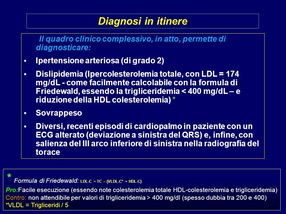 Il quadro clinico complessivo, in atto, permette di diagnosticare: Ipertensione arteriosa (di grado 2) Dislipidemia (Ipercolesterolemia totale, con LDL = 174 mg/dL - come facilmente calcolabile con la formula di Friedewald, essendo la trigliceridemia < 400 mg/dL – e riduzione della HDL colesterolemia) * Sovrappeso Diversi, recenti episodi di cardiopalmo in paziente con un ECG alterato (deviazione a sinistra del QRS) e, infine, con salienza del III arco inferiore di sinistra nella radiografia del torace Diagnosi in itinere * Formula di Friedewald: LDL-C = TC – (VLDL-C* + HDL-C) Pro:Facile esecuzione (essendo note colesterolemia totale HDL-colesterolemia e trigliceridemia) Contro: non attendibile per valori di trigliceridemia > 400 mg/dl (spesso dubbia tra 200 e 400) *VLDL = Trigliceridi / 5
