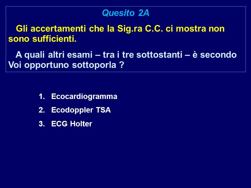 1.Ecocardiogramma 2.Ecodoppler TSA 3.ECG Holter Quesito 2A Gli accertamenti che la Sig.ra C.C. ci mostra non sono sufficienti. A quali altri esami – t