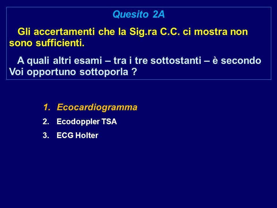 1.Ecocardiogramma 2.Ecodoppler TSA 3.ECG Holter Quesito 2A Gli accertamenti che la Sig.ra C.C.