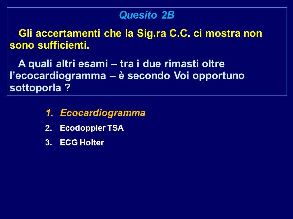 1.Ecocardiogramma 2.Ecodoppler TSA 3.ECG Holter Quesito 2B Gli accertamenti che la Sig.ra C.C.
