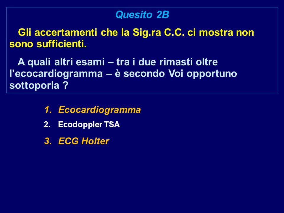 1.Ecocardiogramma 2.Ecodoppler TSA 3.ECG Holter Quesito 2B Gli accertamenti che la Sig.ra C.C. ci mostra non sono sufficienti. A quali altri esami – t