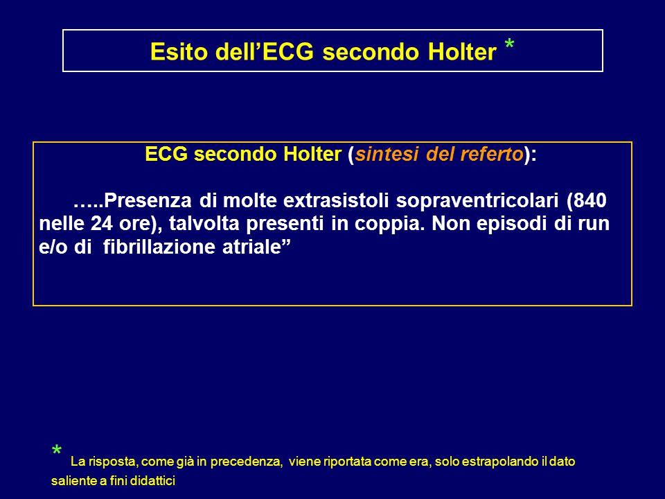 ECG secondo Holter (sintesi del referto): …..Presenza di molte extrasistoli sopraventricolari (840 nelle 24 ore), talvolta presenti in coppia.