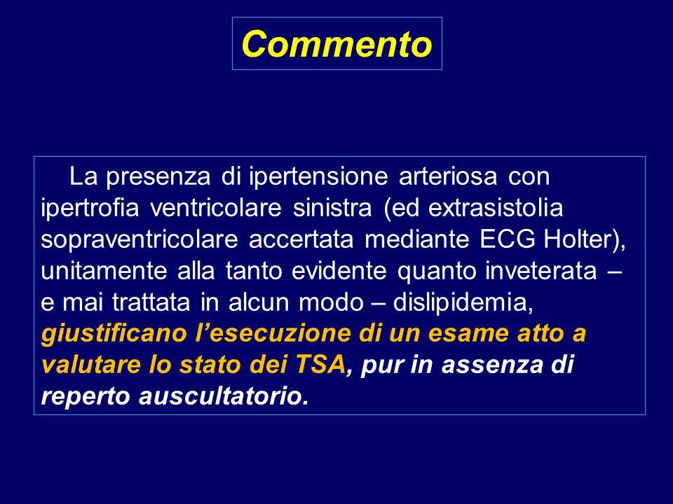 La presenza di ipertensione arteriosa con ipertrofia ventricolare sinistra (ed extrasistolia sopraventricolare accertata mediante ECG Holter), unitame