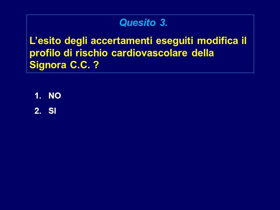 1.NO 2.SI Quesito 3. L'esito degli accertamenti eseguiti modifica il profilo di rischio cardiovascolare della Signora C.C. ?