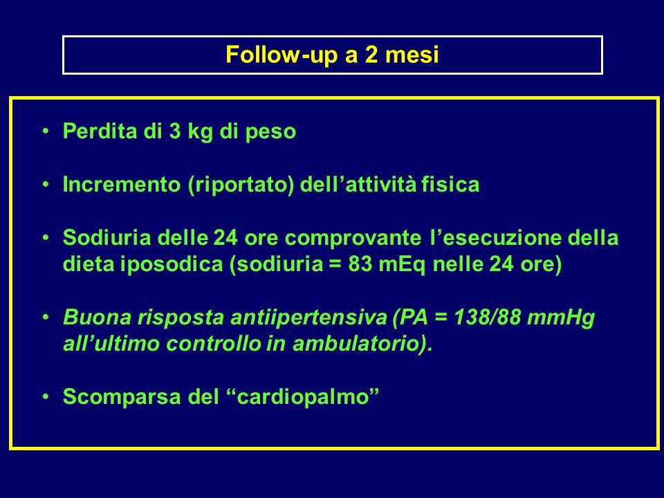 Perdita di 3 kg di peso Incremento (riportato) dell'attività fisica Sodiuria delle 24 ore comprovante l'esecuzione della dieta iposodica (sodiuria = 83 mEq nelle 24 ore) Buona risposta antiipertensiva (PA = 138/88 mmHg all'ultimo controllo in ambulatorio).