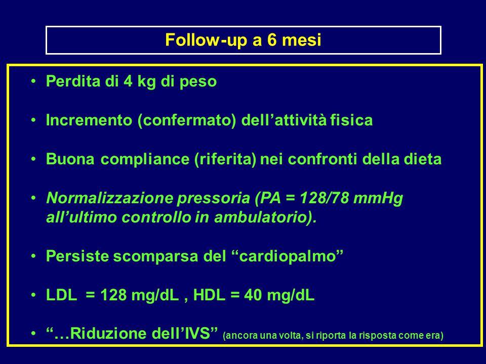 Perdita di 4 kg di peso Incremento (confermato) dell'attività fisica Buona compliance (riferita) nei confronti della dieta Normalizzazione pressoria (PA = 128/78 mmHg all'ultimo controllo in ambulatorio).