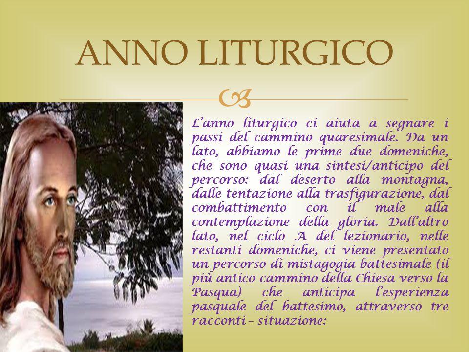  ANNO LITURGICO L'anno liturgico ci aiuta a segnare i passi del cammino quaresimale. Da un lato, abbiamo le prime due domeniche, che sono quasi una s