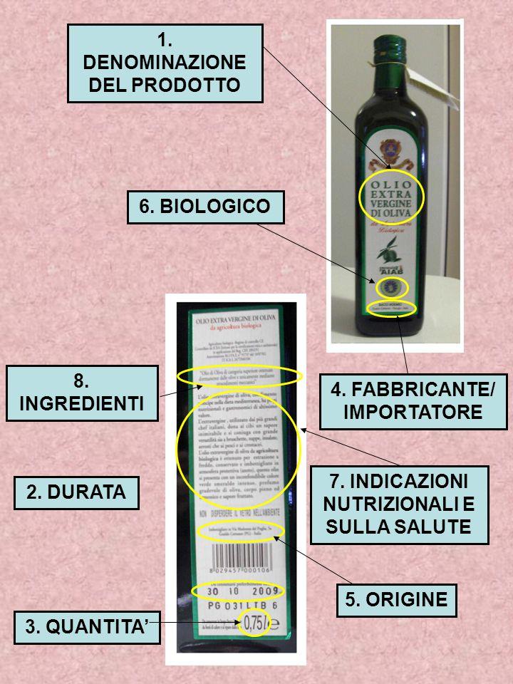 6. BIOLOGICO 5. ORIGINE 7. INDICAZIONI NUTRIZIONALI E SULLA SALUTE 1. DENOMINAZIONE DEL PRODOTTO 3. QUANTITA' 8. INGREDIENTI 4. FABBRICANTE/ IMPORTATO