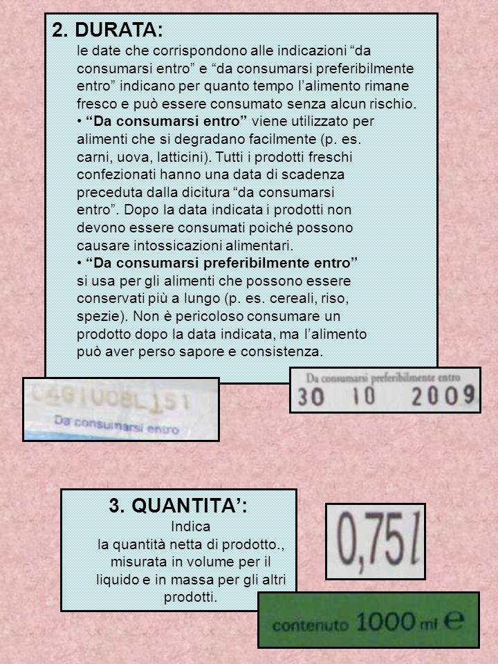 3. QUANTITA': Indica la quantità netta di prodotto., misurata in volume per il liquido e in massa per gli altri prodotti. 2. DURATA: le date che corri