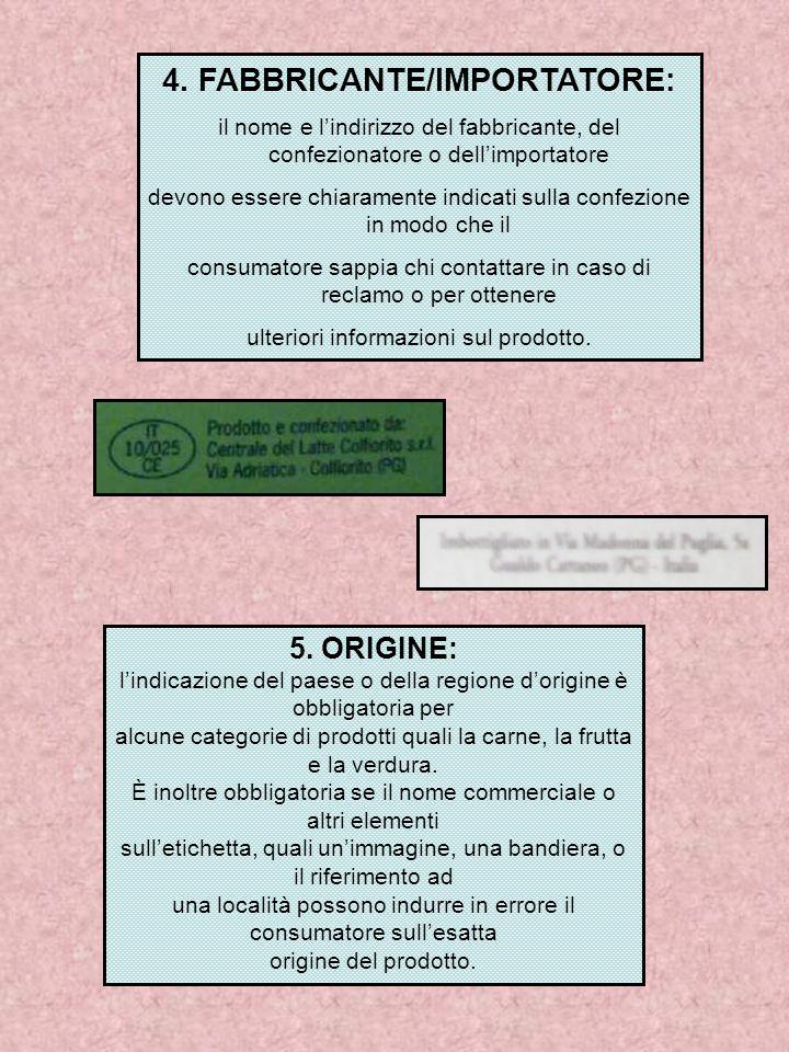 4. FABBRICANTE/IMPORTATORE: il nome e l'indirizzo del fabbricante, del confezionatore o dell'importatore devono essere chiaramente indicati sulla conf