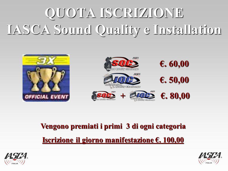 QUOTA ISCRIZIONE IASCA Sound Quality e Installation €.