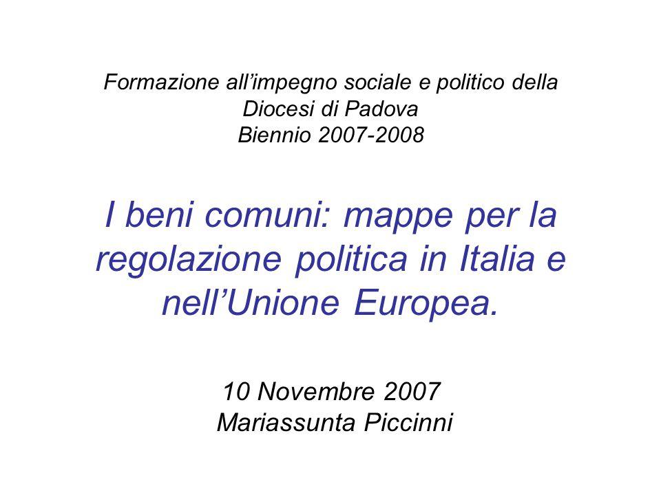 Formazione all'impegno sociale e politico della Diocesi di Padova Biennio 2007-2008 I beni comuni: mappe per la regolazione politica in Italia e nell'Unione Europea.