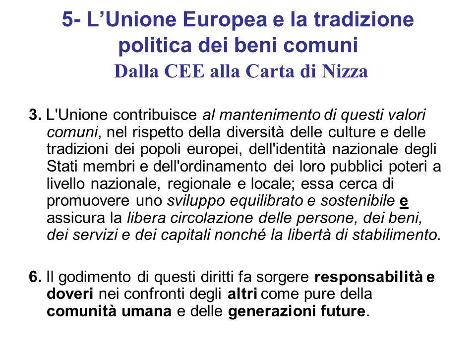 5- L'Unione Europea e la tradizione politica dei beni comuni Dalla CEE alla Carta di Nizza 3.