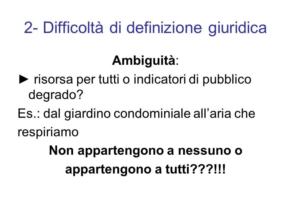2- Difficoltà di definizione giuridica Ambiguità: ► risorsa per tutti o indicatori di pubblico degrado.