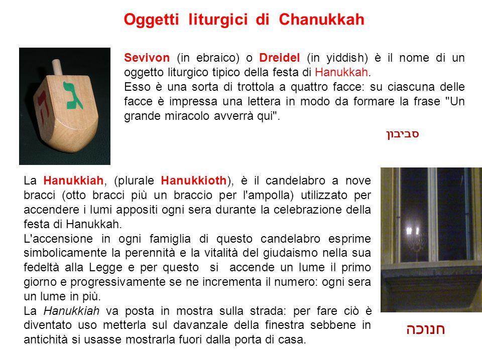 Oggetti liturgici di Chanukkah Sevivon (in ebraico) o Dreidel (in yiddish) è il nome di un oggetto liturgico tipico della festa di Hanukkah. Esso è un