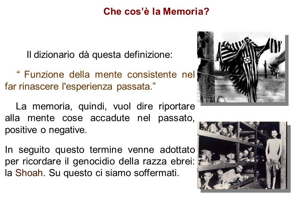 """Che cos'è la Memoria? Il dizionario dà questa definizione: """" Funzione della mente consistente nel far rinascere l'esperienza passata."""" La memoria, qui"""